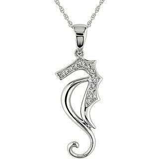 Miadora 10k White Gold Diamond Sea Horse Necklace (H-I, I2-I3)