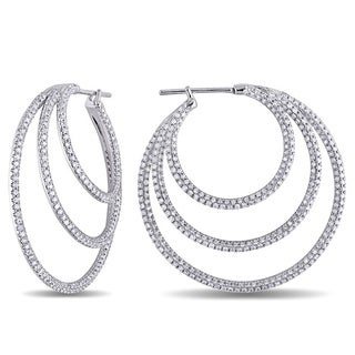Miadora 18k White Gold 2 1/3ct TDW Diamond Hoop Earrings