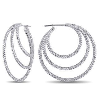 Miadora 18k White Gold 2 1/3ct TDW Diamond Hoop Earrings|https://ak1.ostkcdn.com/images/products/3312054/P11409145.jpg?impolicy=medium