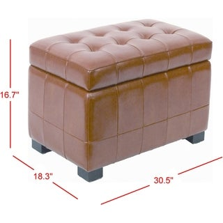 Link to Safavieh Small Saddle Brown Manhattan Storage Bench Similar Items in Living Room Furniture