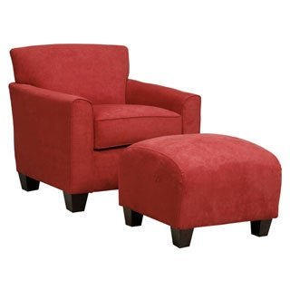 Handy Living Park Avenue Crimson Red Hand Tied Chair And Ottoman