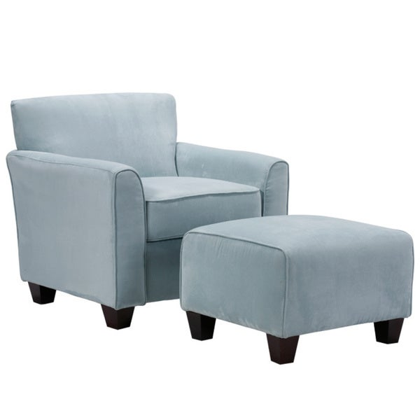 Handy Living Park Avenue Sky Blue Hand-tied Accent Chair and Ottoman - Free Shipping Today ...
