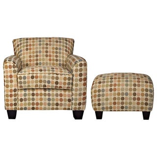 Handy Living Park Avenue Retro Beige Dot Armchair and Ottoman