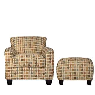 Handy Living Park Avenue Retro Beige Dot Armchair and Ottoman