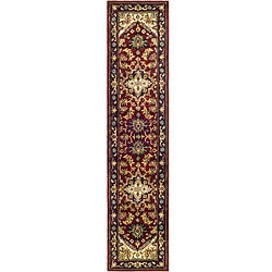 Safavieh Handmade Heritage Traditional Heriz Red/ Navy Wool Runner (2'3 x 14')