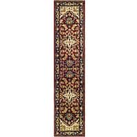 Safavieh Handmade Heritage Traditional Heriz Red/ Navy Wool Runner Rug - 2'3 x 14'