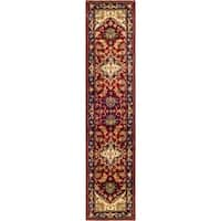 "Safavieh Handmade Heritage Traditional Heriz Red/ Navy Wool Runner - 2'3"" x 14'"