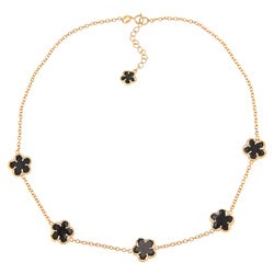 Glitzy Rocks 18k Gold over Sterling Silver Onyx Flower Necklace