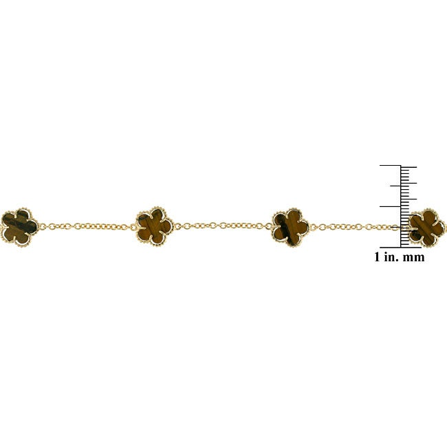 Glitzy Rocks 18k Gold over Silver Tiger's Eye Flower Necklace - Thumbnail 1