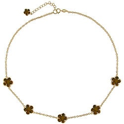 Glitzy Rocks 18k Gold over Silver Tiger's Eye Flower Necklace