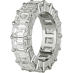 Miadora Platinum 8ct TDW Emerald Cut Diamond Eternity Band (E-F, VS) - Thumbnail 1