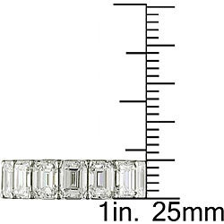 Miadora Platinum 8ct TDW Emerald Cut Diamond Eternity Band (E-F, VS) - Thumbnail 2