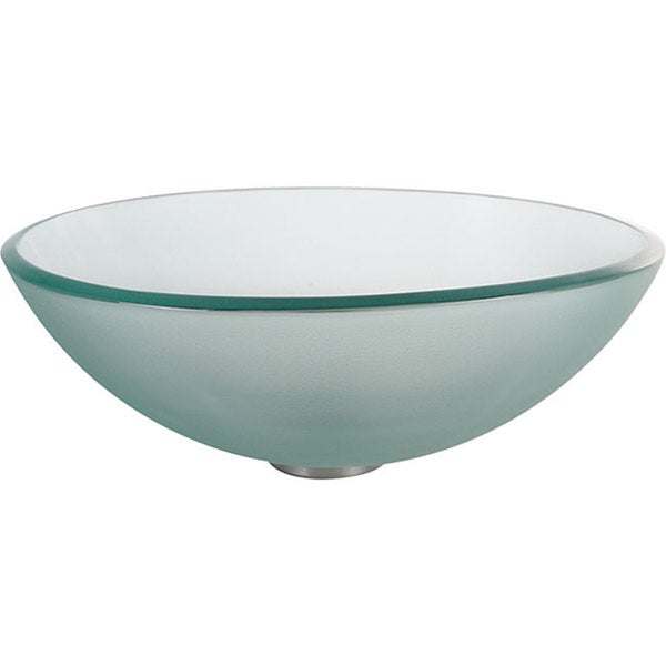 KRAUS Glass Vessel Sink in Frosted with Pop-Up Drain and Mounting Ring in Satin Nickel