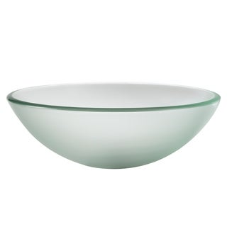 KRAUS GV-101FR Frosted 16-1/2 Inch Round Glass Vessel Bathroom Sink with Pop Up Drain, Mounting Ring option