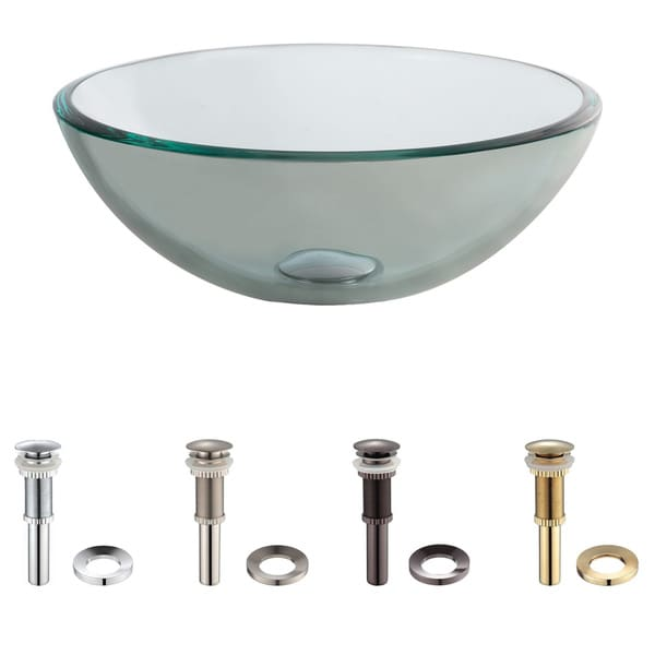 KRAUS 14 Inch Glass Vessel Sink in Clear