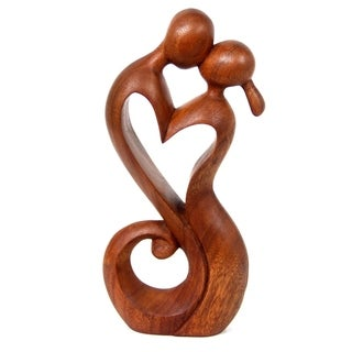 Hand Crafted Wood Everlasting Kiss Statuette (Indonesia)