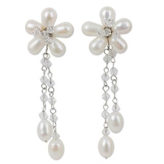 Silver 'Bouquet of Pearls' Earrings (5 mm) (Thailand)