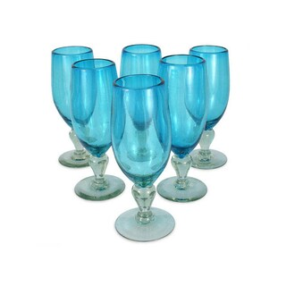 Handmade Blown Glass Set of 6 'Aquamarine' Goblets (Mexico)