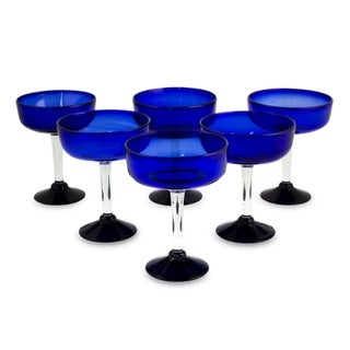 Handmade 'Acapulco' Set of 6 Margarita Glasses (Mexico)