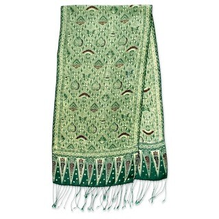 Handmade Artisan Batik Shades of Green Gossamer Light Weight 100% Silk Knotted Fringe Womens Scarf (Indonesia)
