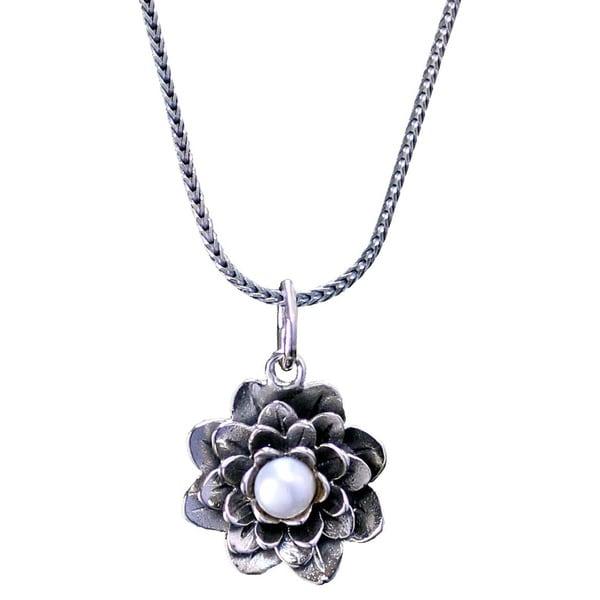 "Handmade Sterling Silver Flower Pearl Gemstone Necklace (Bali) - 7'6"" x 9'6"". Opens flyout."