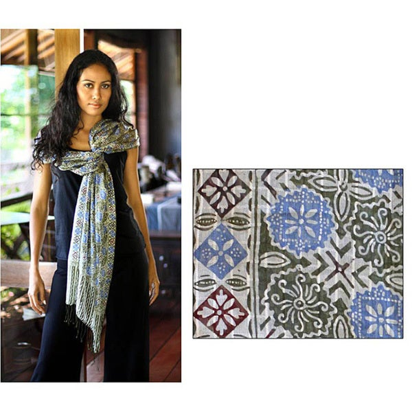 Floral Stars Hand Stamped Artisan Batik Multicolor Gossamer Weight 100% Silk Knotted Fringe Womens Scarf Shawl Wrap (Indonesia)