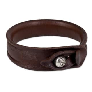 Sleek Chic Handmade Bangle Like Burnished Brown Leather with Hill Tribe Bell Bead Closure Womens Wristband Bracelet (Thailand)|https://ak1.ostkcdn.com/images/products/3318779/P11414519.jpg?impolicy=medium