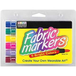 Uchida Odorless Broad-Tip Fabric Markers (Pack of 6)