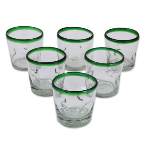 Handmade Recycled Juice glasses Lime Freeze set of 6 (MEXICO)