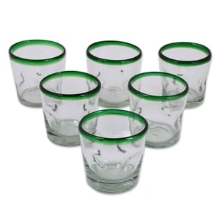 Handmade Recycled Juice glasses, Lime Freeze (set of 6) (MEXICO)