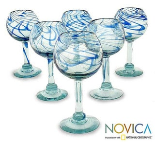 Handmade Set of 6 Blown Glass 'Blue Ribbon' Wine Glasses (Mexico)