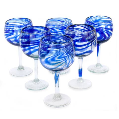 Handmade Blown Blue Ribbon Wine Glasses, Set of 6 (Mexico)