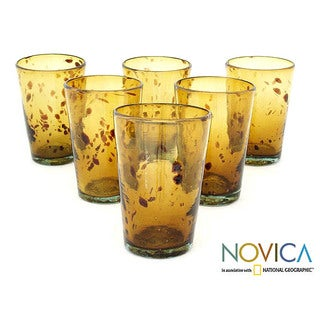 Handmade 'Conical Tortoiseshell' 6-piece Glass Set (Mexico)