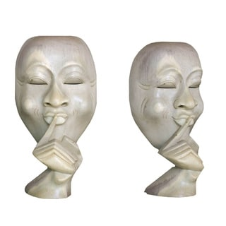 Handmade Silence Is Golden Wood Statuette (Indonesia)