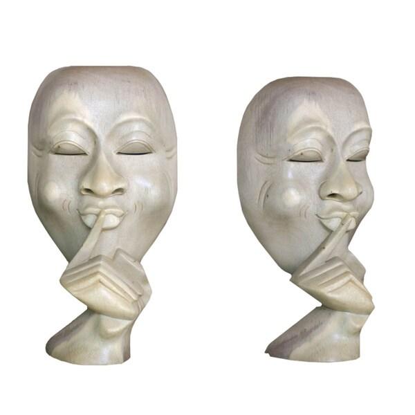 "Quiet Moment Mask Face in Hand Sculpture Modern Art Deco Statue 20/"" OVERSTOCK"