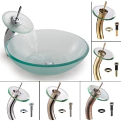 Kraus Frosted Glass Round Vessel Sink and Waterfall Faucet
