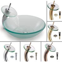 KRAUS Frosted Glass Vessel Sink in Clear with Single Hole Single-Handle Waterfall Faucet