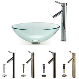 Kraus Clear 14-inch Glass Vessel Sink and Sheven Faucet