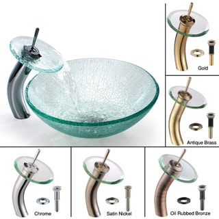 Kraus Mosaic Broken Glass Vessel Sink and Faucet
