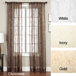 Softline Angela Ribbon Embroidered 84-inch Curtain Panel - 56 x 84