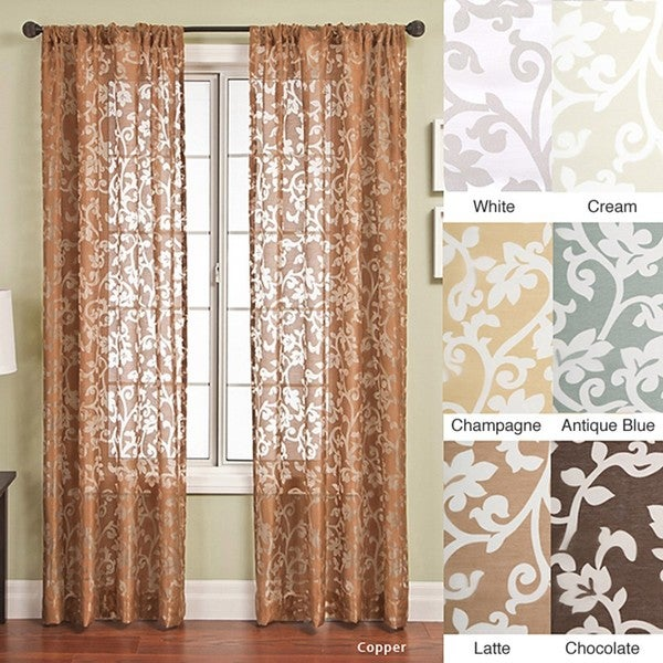 Bellino Scroll Rod Pocket 96-inch Curtain Panel - Free Shipping ...