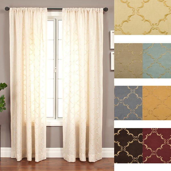 Medici Trellis Embroidered 108-inch Curtain Panel - 55 x 108