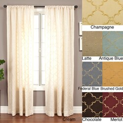 Medici Trellis Embroidered 120-inch Curtain Panel - 55 x 120