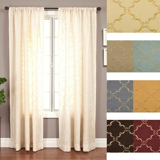 Medici Trellis Embroidered 96-inch Curtain Panel - 55 x 96