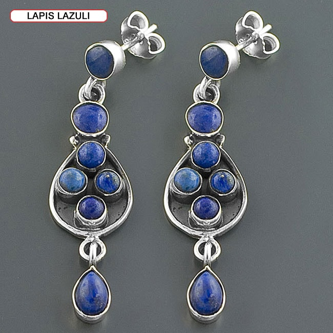 Sterling Silver Multi-gemstone Earrings (India)