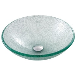KRAUS Mosaic Glass Vessel Sink in Clear with Pop-Up Drain and Mounting Ring in Satin Nickel - Thumbnail 1