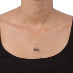Miadora 10k Gold 1/8ct TDW Black/ White Diamond Bone Necklace