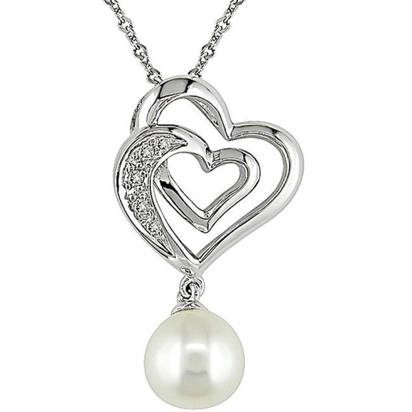 Miadora 10k Gold Diamond and Cultured Freshwater Pearl Heart Necklace