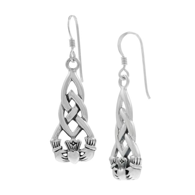 Journee Collection Sterling Silver Claddagh Earrings