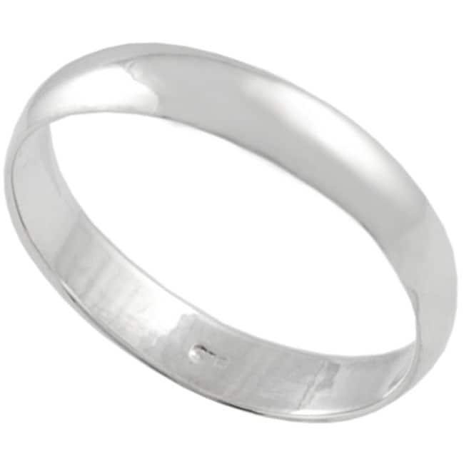 Journee Collection Smooth Simple-design High-shine Polished-finish Sterling Silver Ring